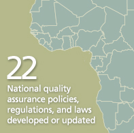 22 National quality assurance policies, regulations, and laws developed or updated