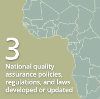 3 National quality assurance policies, regulations, and laws developed or updated